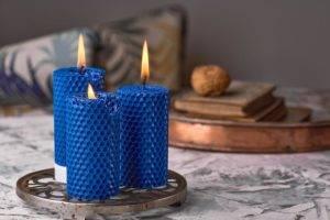 Свечи из воска цветные Синий