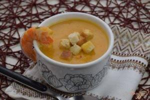 Суп с восковой тыквой и креветками